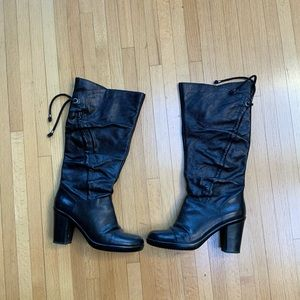NINE WEST Black leather tall boots with a heel